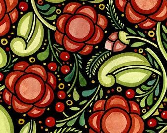 Julen Floral - Julie Paschkis - In the Beginning - Half Yard