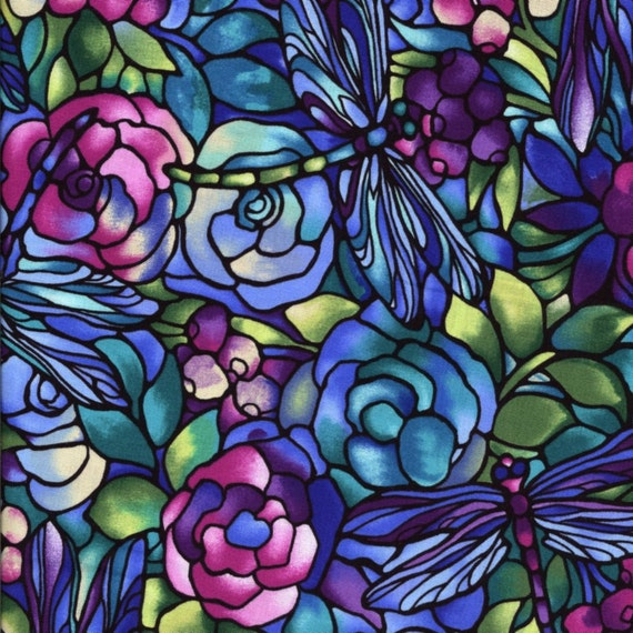 Deco Delight Garden in Blues- Freedom Fabric London  - Half Yard - More Available
