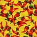 Red Chili Peppers on Yellow - David Textiles - 1 yard - More Available