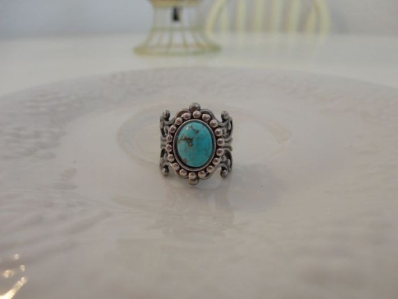 Robin's Egg Blue Turquoise and Silver Filligree Ring