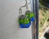 Earrings Venetian Murano glass, Ice cube blue and green glass earrings,silver foil earrings, Venetian glass jewelry by Dolce Beada