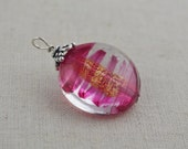 Murano glass pendant, Gold foil pendant, Venetian glass jewelry, Pink stripes pendant by Dolce Beada