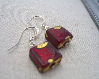 Venetian glass earrings square red and gold foil swirl