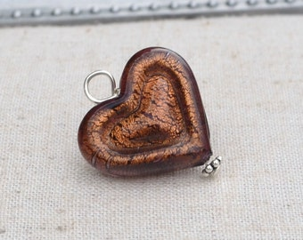 Venetian heart, double heart pendant, purple heart,brown heart, teen heart, Venetian glass jewelry by Dolce Beada