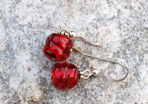 Venetian glass earrings, ruby red small twist earrings, petite earrings, Venetian glass jewelry, gold foil earrings