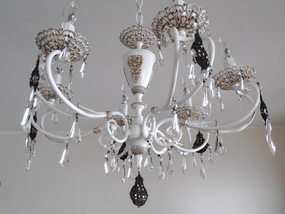 1950s, brass vintage chandelier, Italy shabby chic white, glass crystals, treasury item, strass, one-of-a-kind
