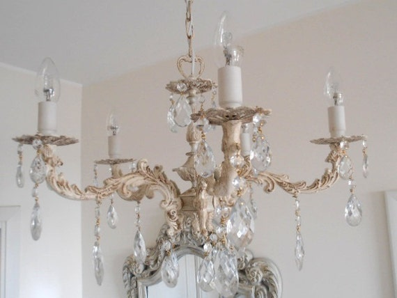 Antique vintage chic  chandelier from Italy, 1950s, solid brass, one-of-a-kind - bulbs included