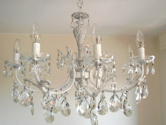 LUCIANA stunning vintage chic chandelier from Italy, 1950s, brass, white, luminous look