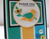Yellow and Turquoise Bird on a Branch Thank You for Your Friendship Card
