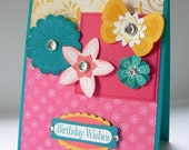 Teal, Pink and Yellow Handstamped Birthday Wishes Card with flowers