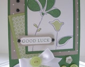 Polka Dot Green and White Good Luck card