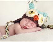 Newborn Boy Owl Hat photo prop hat cotton baby boy crochet owl hat