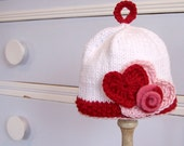 Baby Girl Hat Valentine Hearts and Roses in Cotton    6 to 12 month size