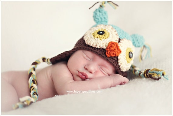Newborn Boy Owl Hat photo prop hat cotton baby boy crochet owl hat