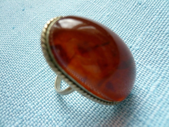 Amber Glass or Resin Ring Silver Tone Setting Size 5