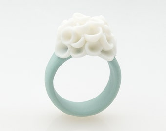 Flower Statement Ring , Porcelain Cocktail Ring Pastel Turquoise  , Cluster White Flowers - El Medano Handmade Jewelry Floral  Rings for Her