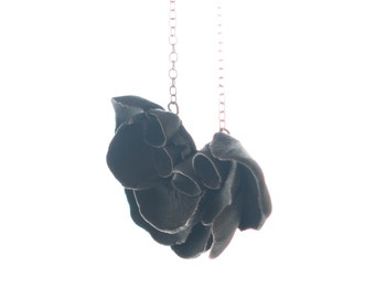 Black Flower Pendant  Necklace Long, Sterling Silver  Chain Porcelain  Il De Re , Ceramic Handmade Jewelry Necklaces ,Gift for her ,For mom