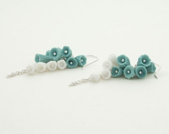 Flower Turquoise White Sterling Silver Long Dangle Earrings ,Cluster  Ceramic Porcelain Buds  Flowers  -Lanai , Handmade Porcelain Jewelry