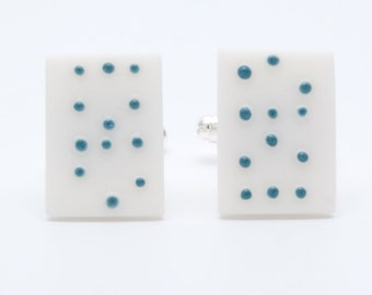 Personalized love Braille white porcelain cufflinks with teal blue customisable dots, Men's jewelry, personalized jewelry