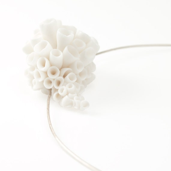 White Flower Statement Necklace , Porcelain Flowers Pendant  Sterling Silver Necklace Handmade Fashion Ceramic Porcelain Jewelry -  Molokai