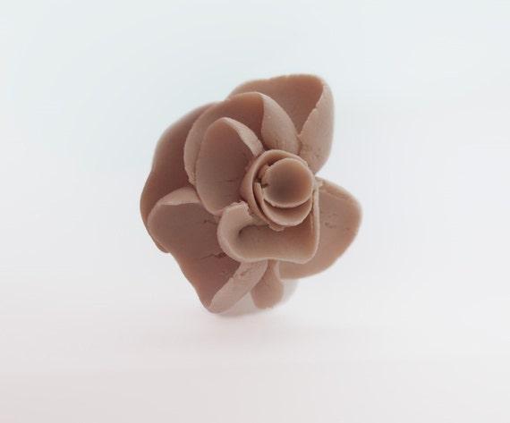 Seville Porcelain Flower Ring - White Porcelain Ring Band with abstract beige flower