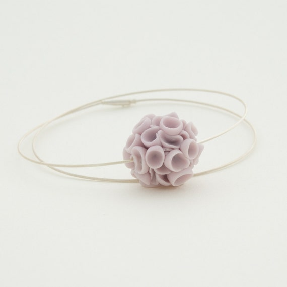 Handmade sterling silver necklace porcelain pastel purple cluster  flowers  Khao-Lak  porcelain jewelry , handcrafted floral jewelry