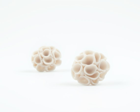 Khao-Lak  Porcelain Earrings Studs Ecru  Large  Flowers Stud Earrings