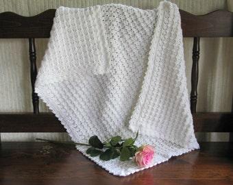 Crochet baby blanket, white, baby blanket, baby gift, baby lovey