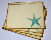 Wedding Guest Book Alternative Cards - Set of 50 - Beach Starfish Wedding Wishes - vintage inspired guestbook