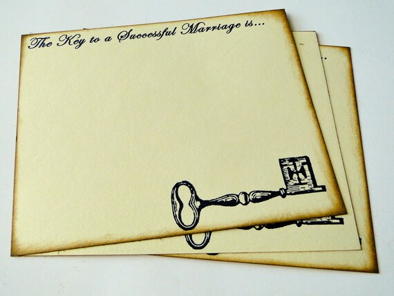 Wedding Guest Book Alternative Cards - Set of 50 -Key to a Successful Marriage
