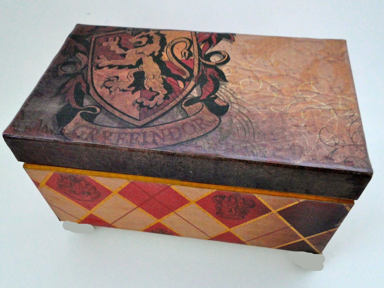 Harry Potter Golden Gryffindor Keepsake Trinket Box Vintage