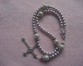 Medieval inspired Lavendar pearl Rosary