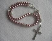 Diamante and powder rose pearl Rosary