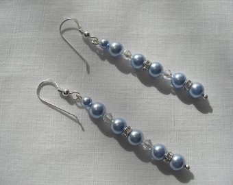 Ice blue pearl and crystal earrings