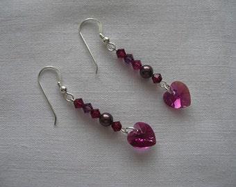 Heart's desire dangle earrings