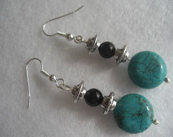 Turquoise coins and jet black onyx orbs