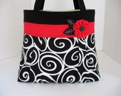 Swirls in Black and Red Pleated A-Line Bag - Large Fabric Tote Bag - Black Diaper Bag - Spring Purse - Black White Handbag