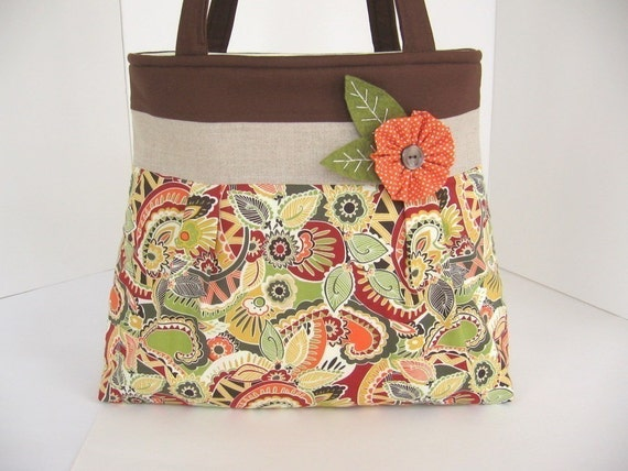 Swirls in Earth Tones Pleated A-Line Bag
