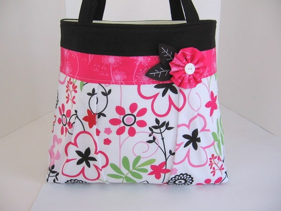 Pink and Black Blossoms Pleated A-Line Bag