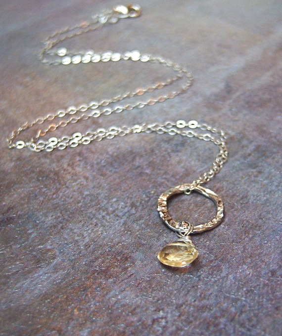 Citrine necklace, November birthday gift, November birthstone, gift for sister, gift for girlfriend, bridal party jewelry - Clare
