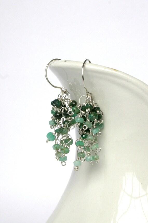 Emerald cluster earrings, emerald earrings, green earrings, gifts under 75, May birthstone - Wisteria