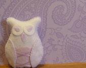 Nursery room decor kids toys decorative white owl art doll plush / pale lavender toy for little girls room