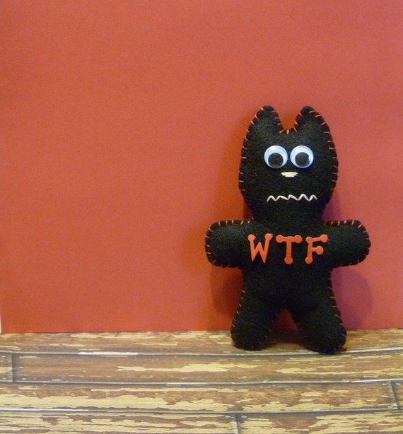 wtf cat / gifts for guys / men / stuffed animal office computer desk decor / mature adult dude birthday gift / black and red