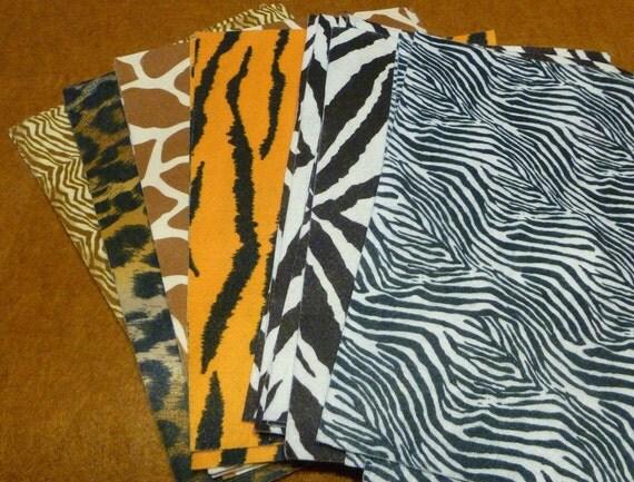 animal print felt sheets 25 / leopard / giraffe / tiger stripes / animal prints / zebra craft sheet