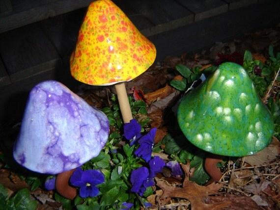 3 Handbuilt Pottery Mushrooms for the Garden