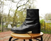 Mens Black Leather Zip-Up Boots. SIZE 8.5M