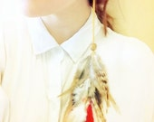 Wild Horse- Extra Long Natural Striped Feather Earring