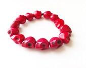 Goth Red Howlite Skull Bracelet- Valentines Day