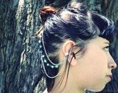 Silver Chain Ear Cuff- Blue Beaded