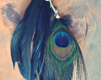 Peacock Gypsy Iridescent Feather Ear Cuff/ Peacock Hair Extention/ Black Feather ear Cuff/ Feather Ear Wrap/ Festival Jewelry/ Boho Chic